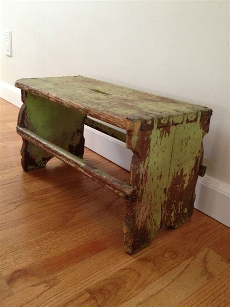 antique country primitive small wooden bench stool