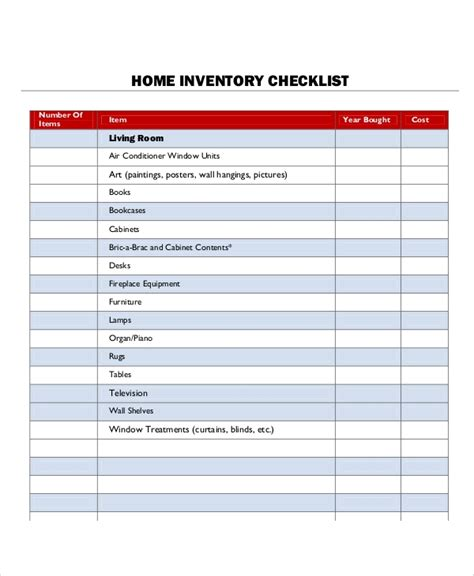 inventory list sample  examples  word
