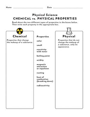 science review chemical physical properties worksheet education