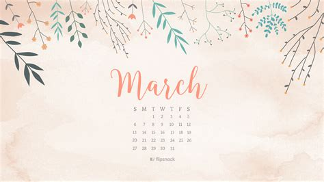 March 2016 Free Calendar Wallpaper