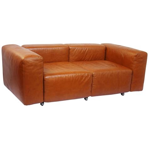 Small Leather Loveseat by Leather Modular Loveseat Small Sofa By Harvey Probber At