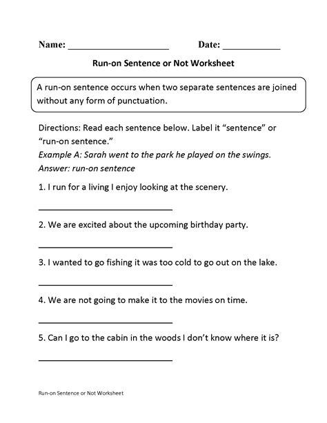 run on sentences or not worksheet pinteres