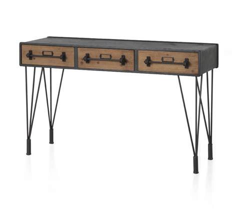 console bureau console bureau 3 tiroirs style industriel 6359