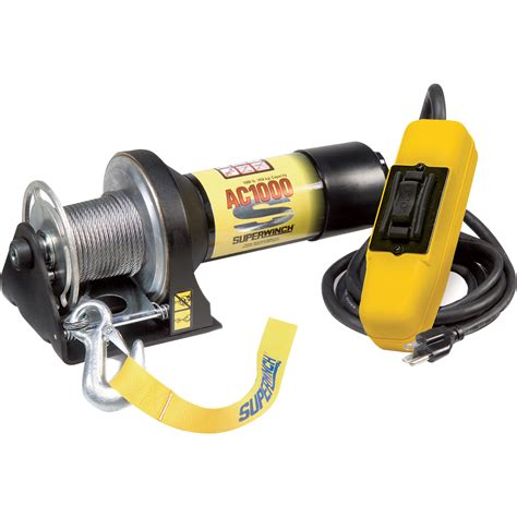 superwinch 110 volt ac powered electric utility winch 1000 lb capacity galvanized wire rope