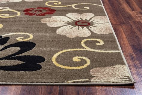 simple area rugs bay side simple floral area rug in grey ivory black 7