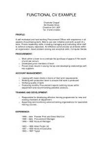 Definition Of Functional Resume by Exle Cv Functional Skills Resume Format