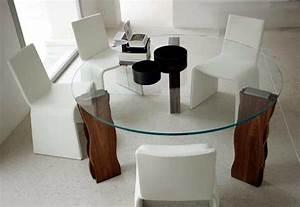 Table Ronde Verre Et Bois : table ronde pour chaque coin de votre maison en 75 exemples ~ Teatrodelosmanantiales.com Idées de Décoration