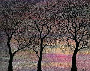 Winter Trees On Watercolor Background Drawing by Marta Harvey