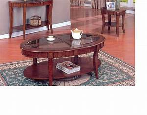 Cherry finish modern 3pc coffee table set w glass inserts for Modern cherry coffee table