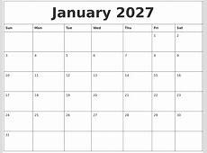 January 2027 Editable Calendar Template
