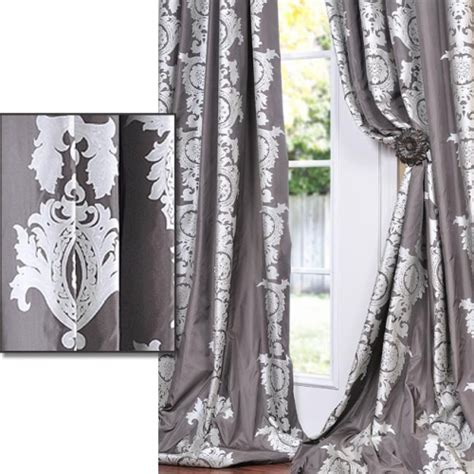 charcoal grey with silver metallic print faux silk 84 inch