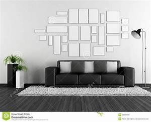 Bilder Mit Rahmen Für Wohnzimmer : schwarzweiss wohnzimmer mit moderner couch und leerem ~ Lizthompson.info Haus und Dekorationen