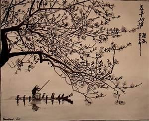Dessin Fleur De Cerisier Japonais Noir Et Blanc : tableau encre de chine barque de p cheur et cerisier en ~ Melissatoandfro.com Idées de Décoration