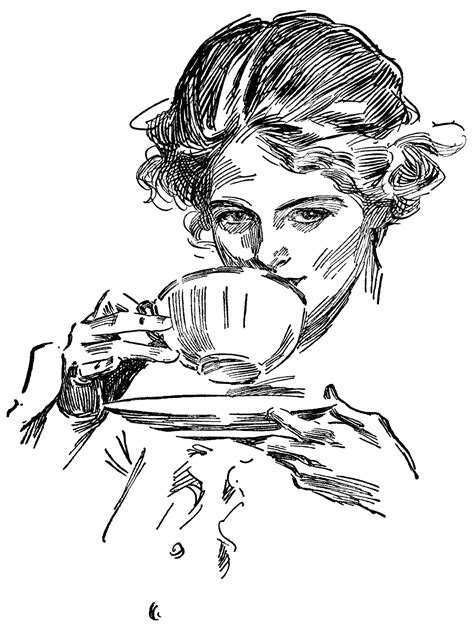 sip clipart black and white tea free vintage clip design