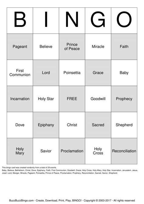 holy communion bingo cards   print