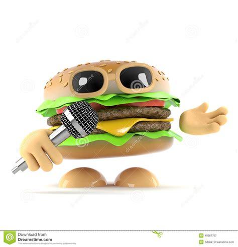 singer cuisine 3d dj burger stock illustration image 40561707