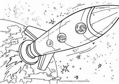 Coloring Space Pages Printable Colouring Ship Rocket