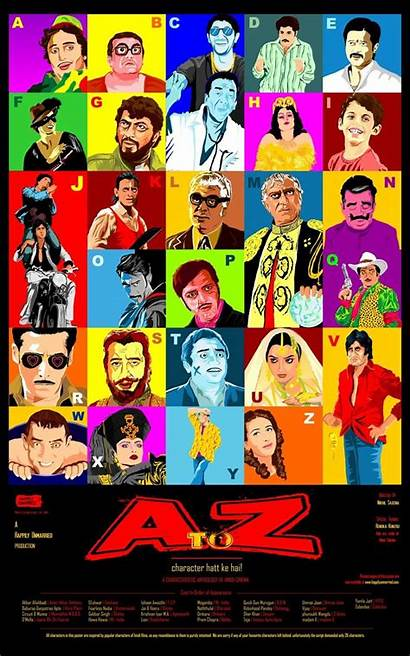Bollywood Posters Collage Characters Poster Famous Cartoons
