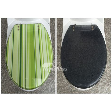 striped greengrayyellow colored resin toilet seat covers