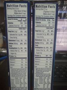 Kraft Macaroni And Cheese Box Nutrition Facts On the left ...