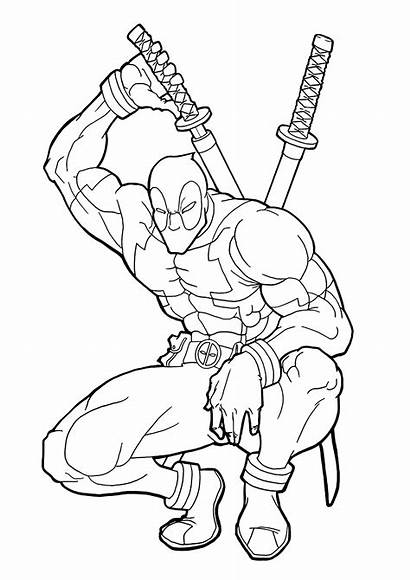Coloring Deadpool Pages Printable Colouring Superhero Super