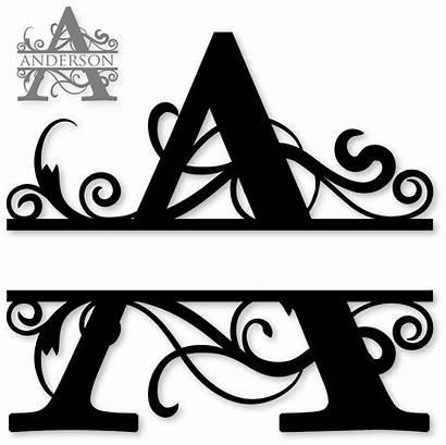 Monogram Cricut Fonts Split Designs Letter Silhouette