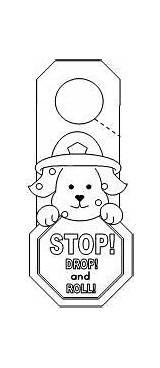 Safety Fire Preschool Drop Stop Roll Door Hanger Crafts Coloring Hangers Pages Worksheets Doorknob Firefighter Activities Daisies Working Safe Unsafe sketch template