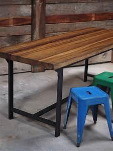 Plateau Pour Bureau : table ou bureau metal industriel militaire plateau bois massif ~ Teatrodelosmanantiales.com Idées de Décoration