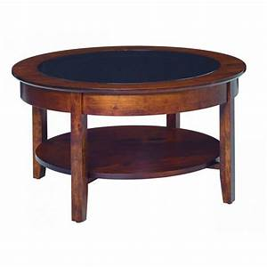 Aaron39s glass top round coffee table amish crafted furniture for Circular glass top coffee table