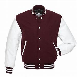 New maroon wool and white leather varsity letterman jacket for Varsity letter man jacket