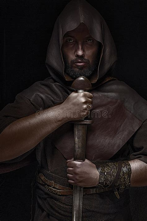 Viking Warrior With Sword Over Black Background Holding ...