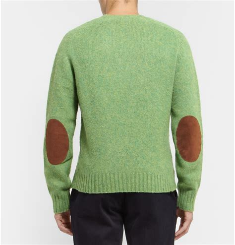 mens patch sweater polo ralph suede patch brushed knittedwool