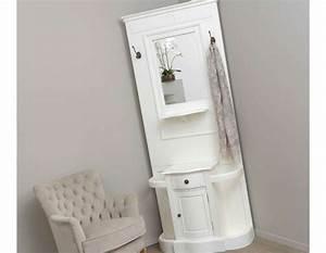 grand meuble entree blanc en bois avec miroir et placard With meuble d entree blanc