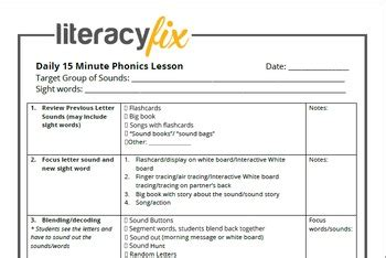 minute phonics lesson plan template  literacyfix tpt
