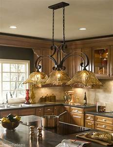 Tuscan tuscany bronze amber art glass kitchen island for Kitchen island lighting fixtures