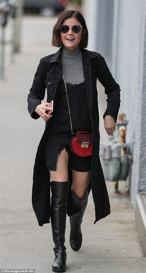 Lucy Hale puts on a leggy display in slip dress while ...