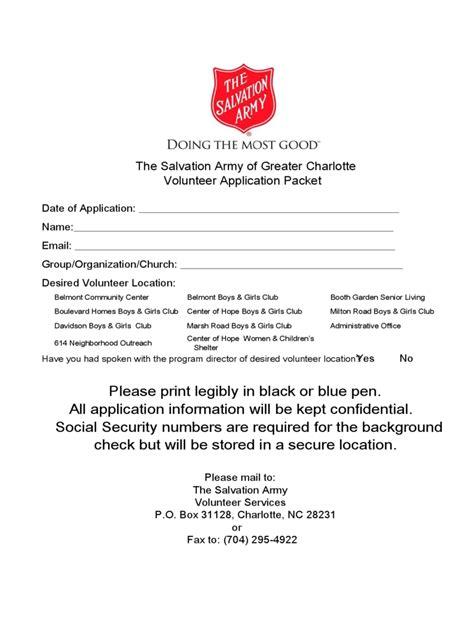 salvation army volunteer application form
