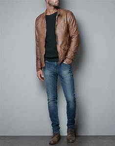 Zara Synthetic Leather Jacket in Brown for Men | Lyst