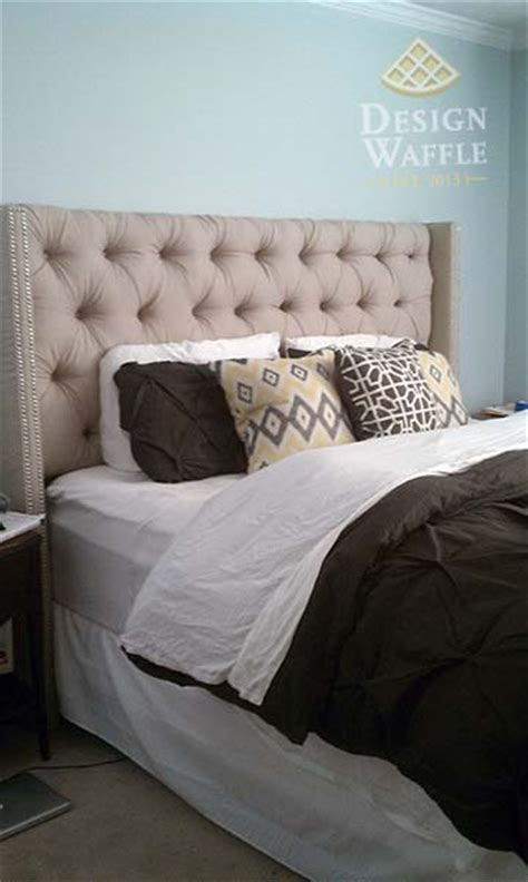tufted wingback headboard diy tufted wingback headboard design waffle