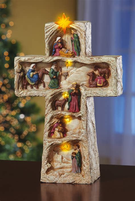 led lighted christmas religious nativity cross christmas