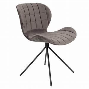 Chaise Velours Gris : chaise velours omg gris fonc zuiver ~ Teatrodelosmanantiales.com Idées de Décoration