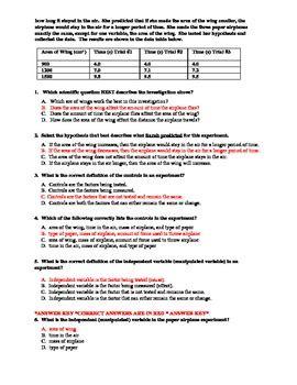 scientific method test  practice test  answer key