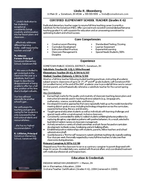 Free Resume Templates For Teachers by Elementary School Resume Free Cv Resume Template Resumes And Cv Templates Ready