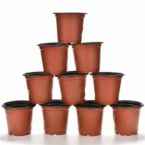 10, Pcs, Set, Small, Flower, Pot, Plastic, Round, Flower, Potnursery, Pots, Planter, Home, Garden, Decor, 9, X, 8
