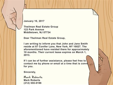 How To Write A Letter Showing Proof Of Residence For A