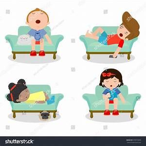Set Kid Sleeping On Sofa Home Stock Vector 378916696 ...