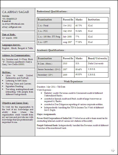 chartered accountant resume  word document format resume formats