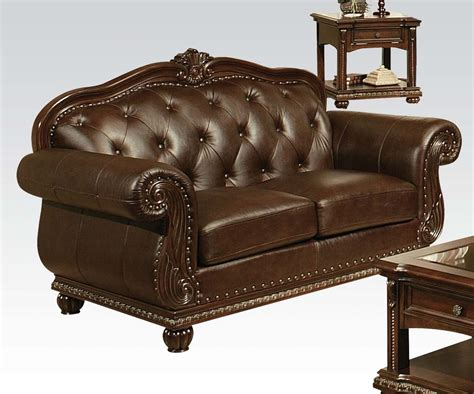 leather loveseat acme furniture anondale top grain leather sofa set