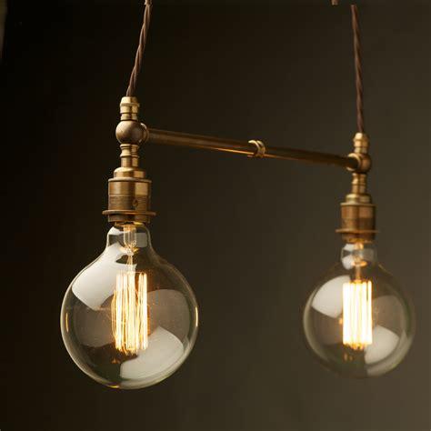in pendant light two light shade brass e27 pendant