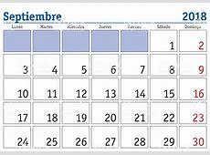 Ilustración de Calendario De Pared De Septiembre 2018